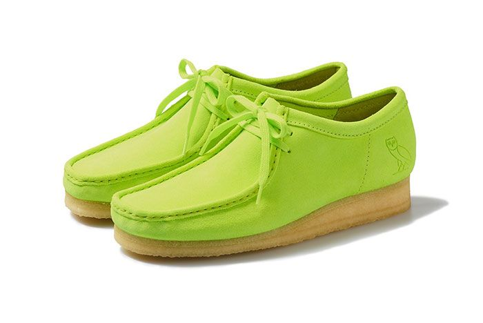 Octobers Very Own Ovo Clarks 2020 Wallabee Neon Front Angle