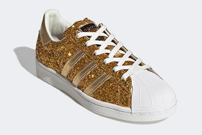 Adidas Superstar Gold Metallic Fw8168 Front Angle