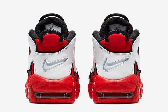 Nike More Uptempo Red White Black Chicago Bulls Cd9402 600 Heel Shot 3