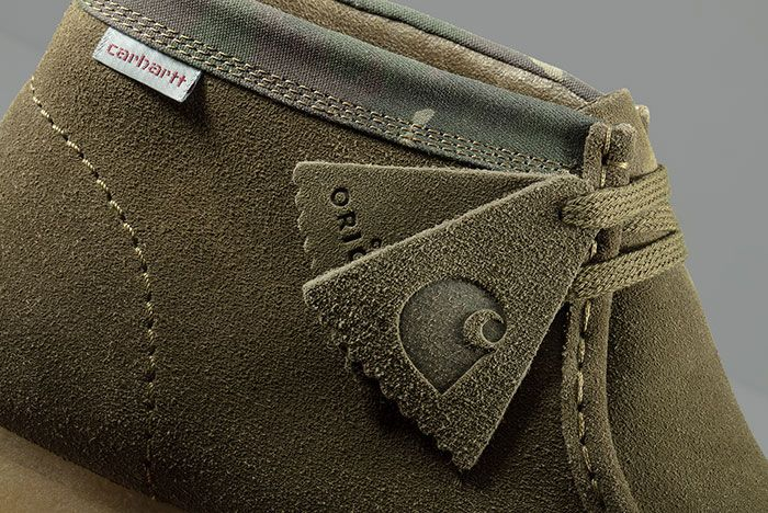 Carhartt Clarks Wallabee Olive Lateral Detail