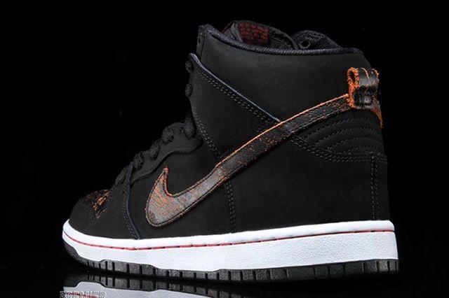 Nike Sb Dunk High Black Orange Distressed Orange 5