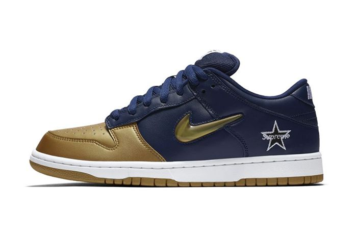 Supreme Nike Sb Dunk Low Navy Gold Fall 2019 Snkrs Sneakrs Release Date Lateral