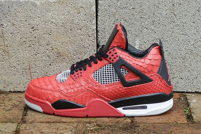 Jbf Customs Jordan Iv Fire Red Python 4 1