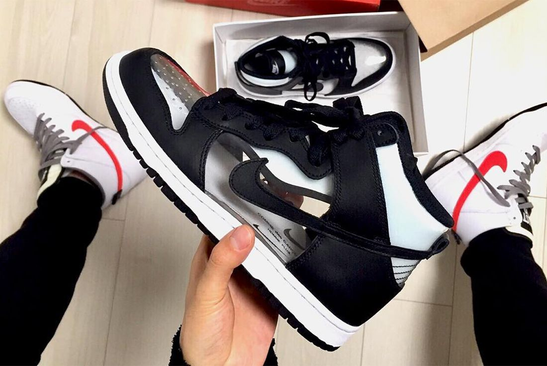 Comme Des Garç Ons X Nike Dunk High Clear