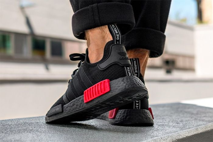 Adidas Nmd R1 Core Black Lush Red 2