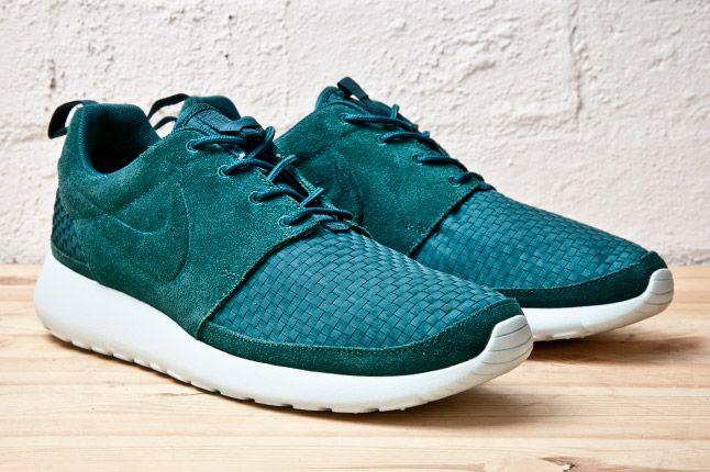 Nike Roshe Run Woven Teal Pair 1