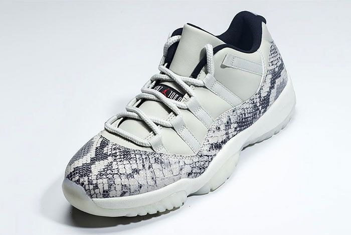 Jordan 11 Low Retro Snakeskin Grey Black Red 2019