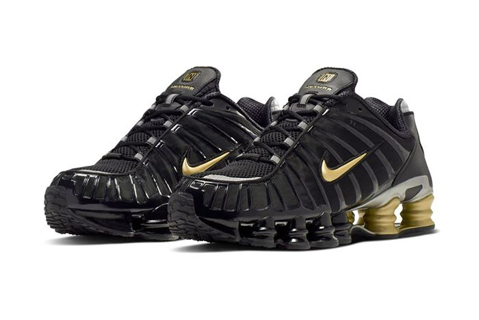 Neymar Nike Shox Tl Black Gold Official Bv1388 001 Release Date Pair