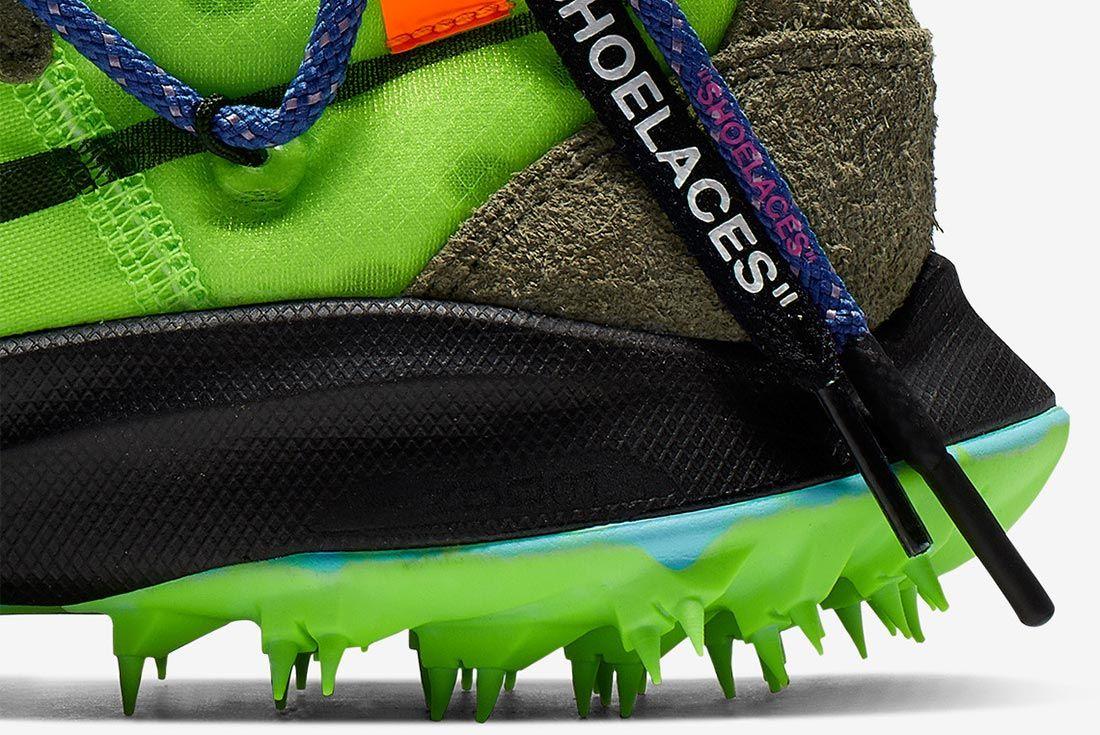 Off White Nike Zoom Terra Kiger 5 Green Cd8179 300 Close Up Heel Shot