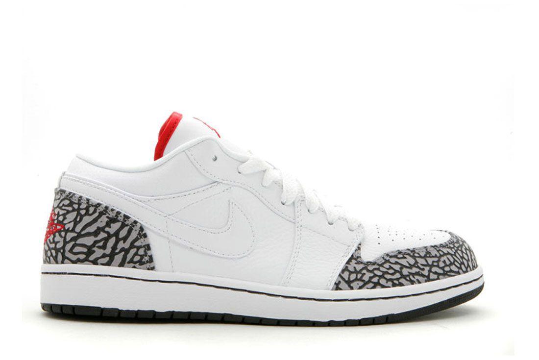 Air Jordan 1 Phat Low White Varsity Red Black Cement Grey Lateral Side Shot