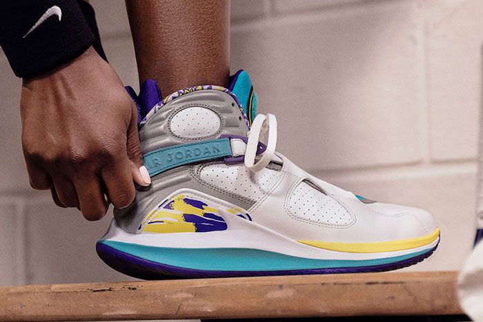 Nike Court Air Zoom Zero Air Jordan 8 White Aqua On Foot
