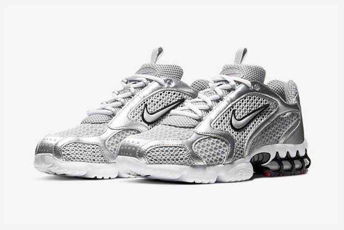 Nike Air Zoom Spiridon Caged Metallic Silver Pair