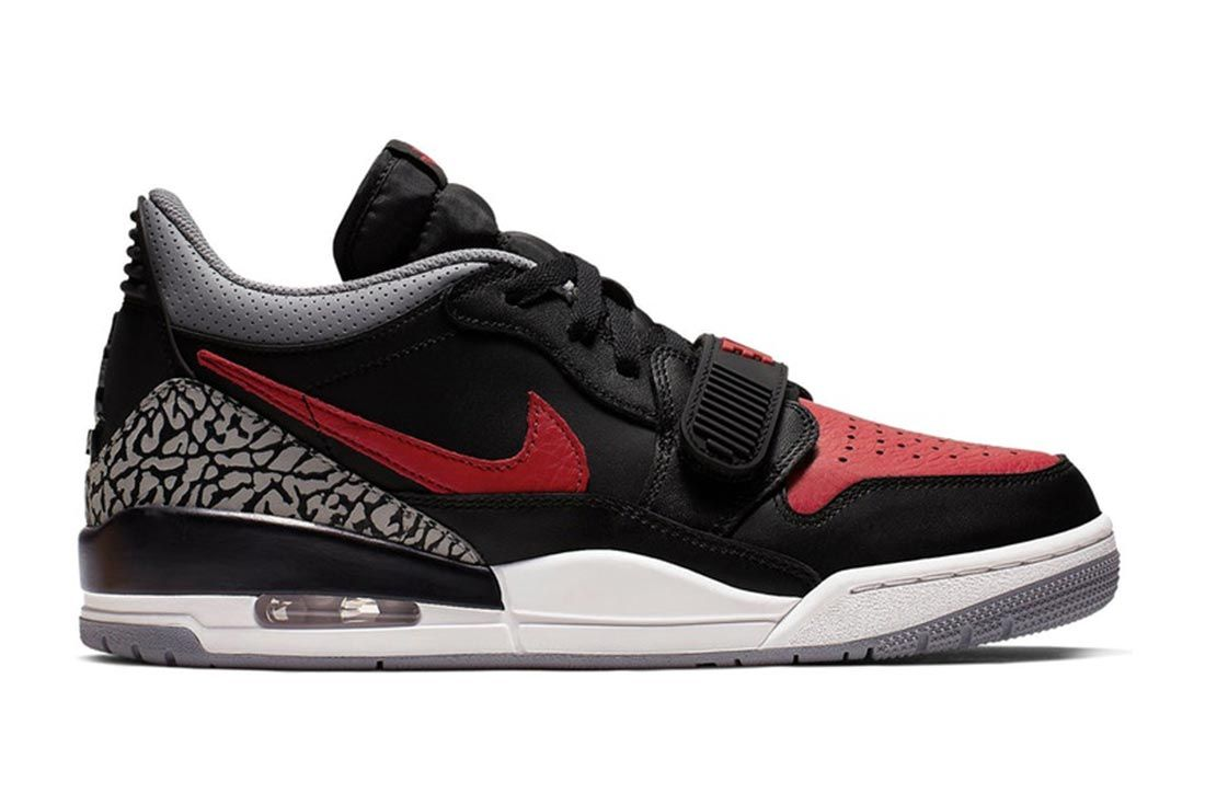 Air Jordan Legacy 312 Low Bred Black Cement Lateral Side Shot