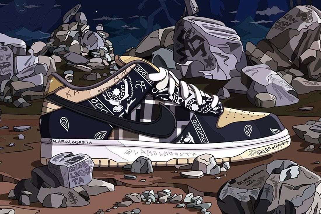 Laro Lagosta Travis Scott Nike Sb Dunk Low Header