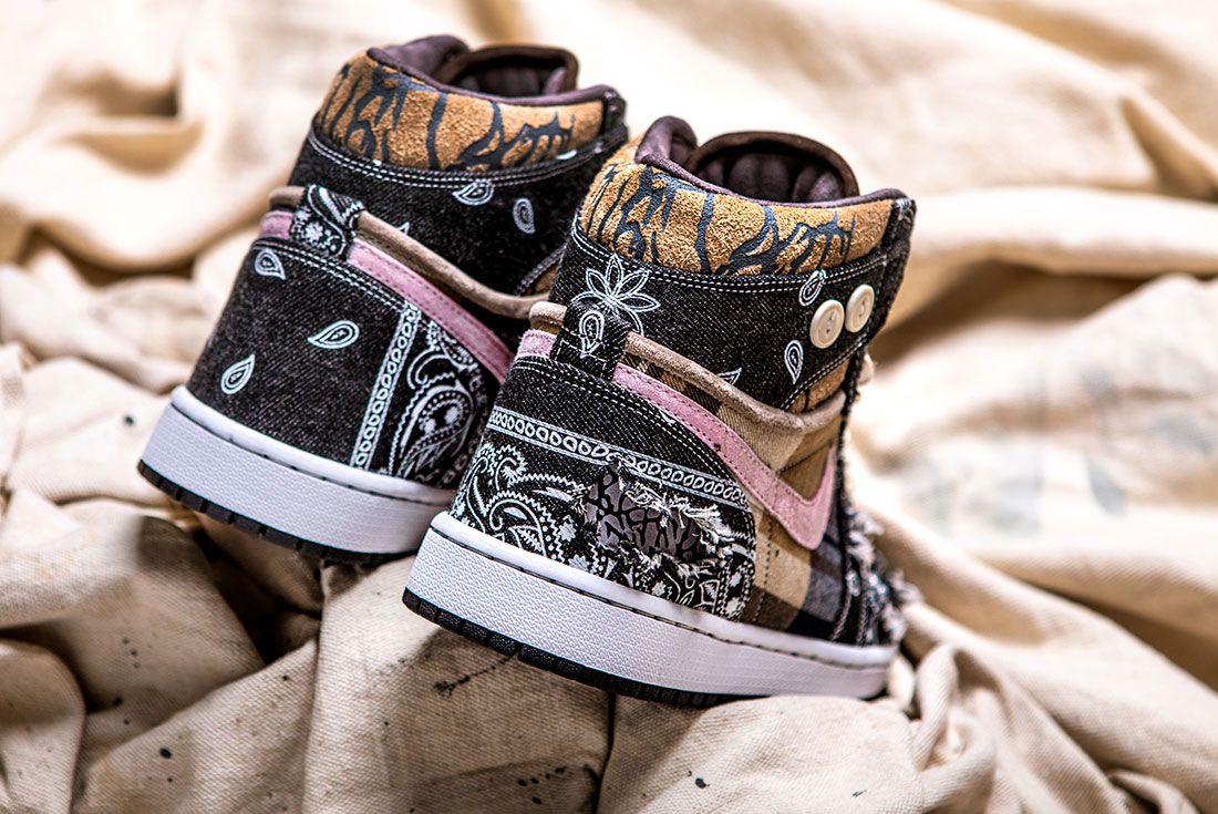 Bespokeind Travis Scott Air Jordan 1 Custom Bandana Sneaker Freaker Hero Shot8