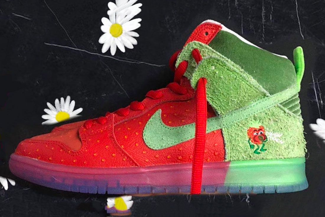 Nike Sb Dunk High Strawberry Cough Left