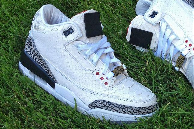 Jbf Customs White Snake Jordan 3 For Wale Angle 1