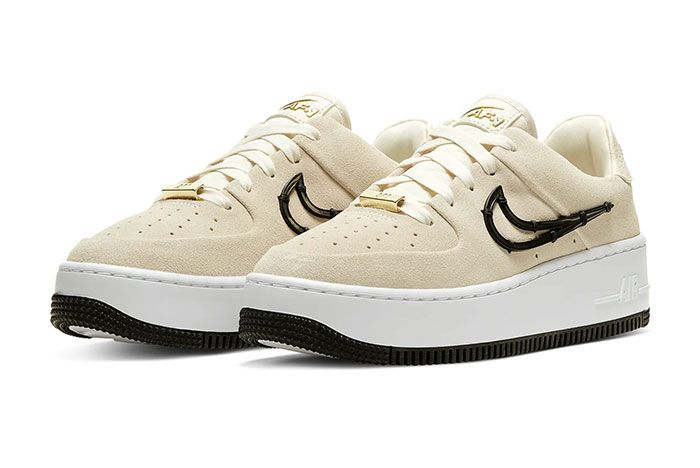 Nike Air Force 1 Sage Low Lx Light Cream Release Ci3482 200 Three Quarter Lateral Side Shot