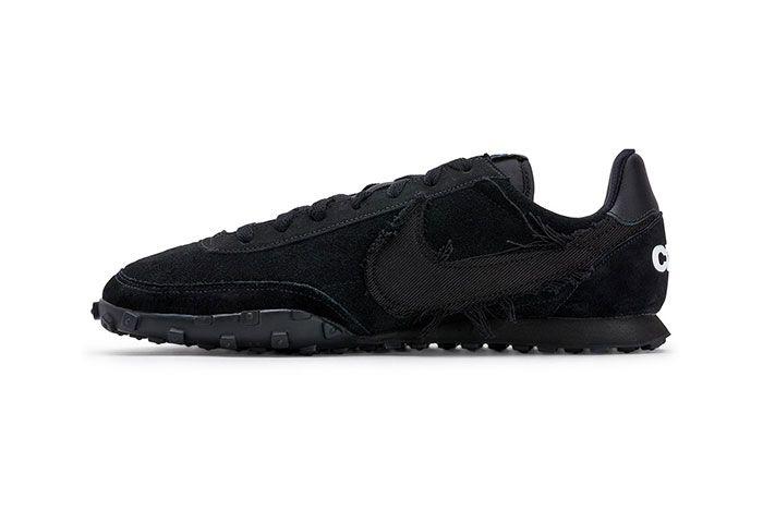 Comme Des Garcons Nike Waffle Racer 2 Black Left