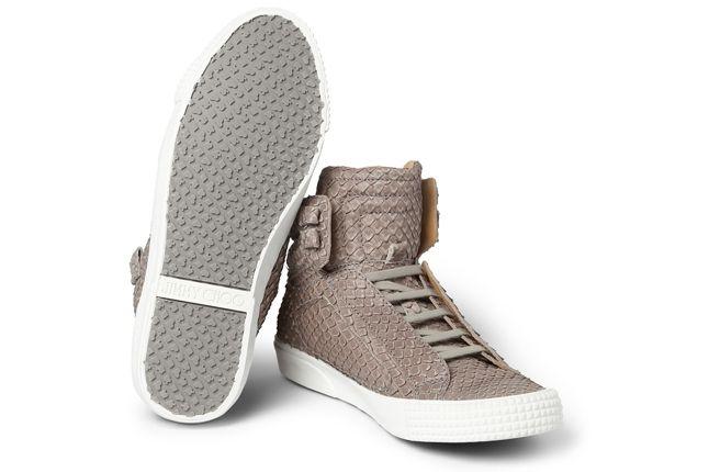 Jimmy Choo Snakeskin Leather High Top Sneaker Outsole 1