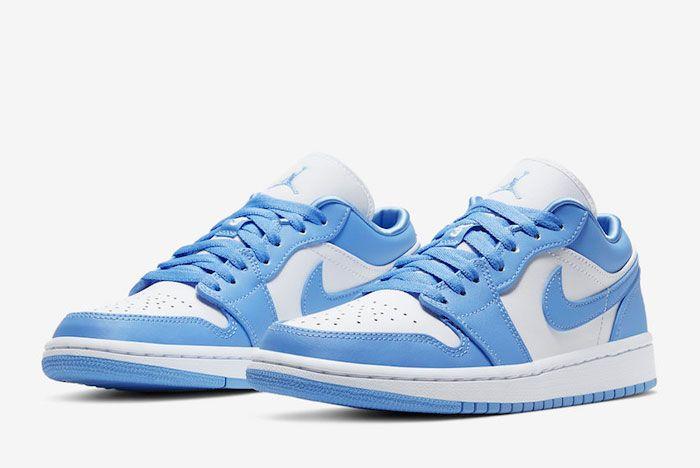 Air Jordan 1 Low Unc University Blue White Ao9944 441 Front Angle