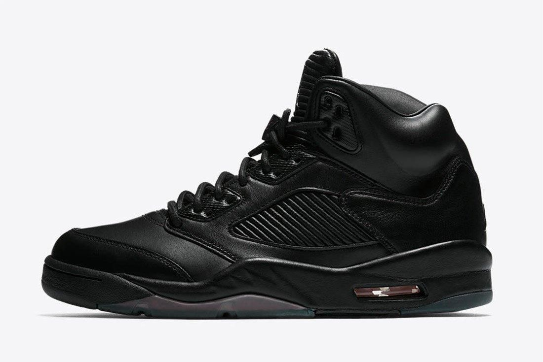 Air Jordan 5 Premium Triple Black Leather 1