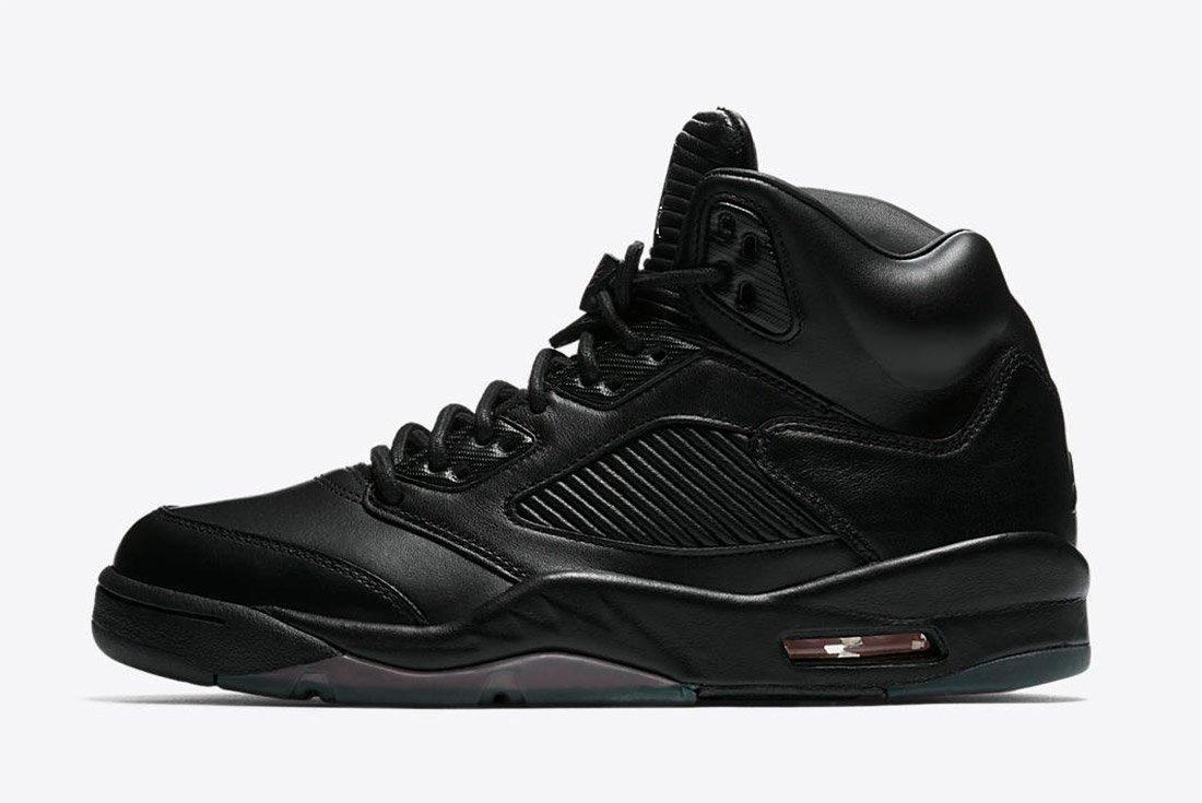 Air Jordan 5 Premium Triple Black Leather 1