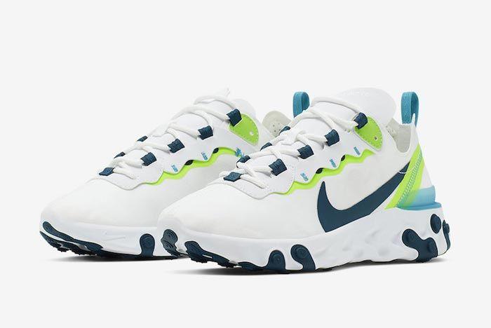 Nike React Element 55 White Navy Sea Green Pair