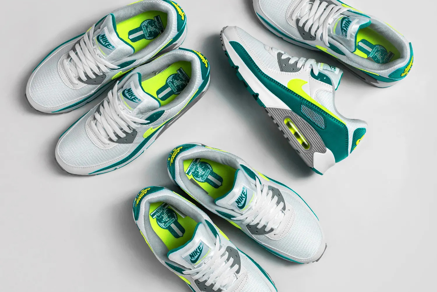 nike air max 90 spruce lime on white