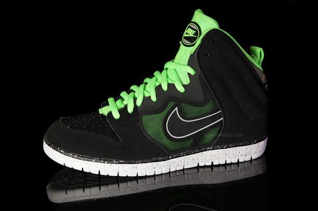 Nike Dunk High Free Black Green Profile 1