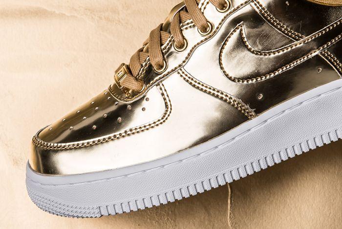 Nike Air Force 1 Liquid Metal Gold Toe Close Up