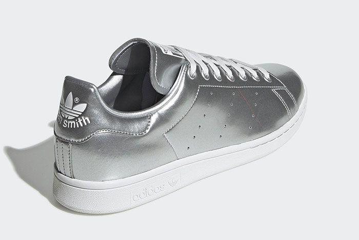 Adidas Stan Smith Silver Metal Fv4300 Rear Angle