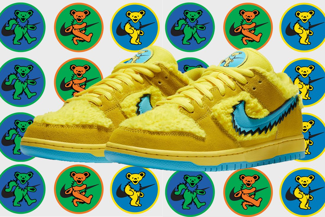 Grateful Dead x Nike SB Dunk Low Yellow Angled