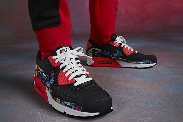 Nike Air Max 90 Premium By You Red Three Quarter Lateral Side Shot