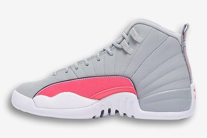 Air Jordan 12 Girls Wolf Grey Racer Pink 510815 060 2 Side