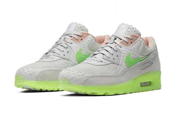 Nike Air Max 90 Snake Pure Platinum Electric Green Bio Beige Ck0902 001 Release Date Pair