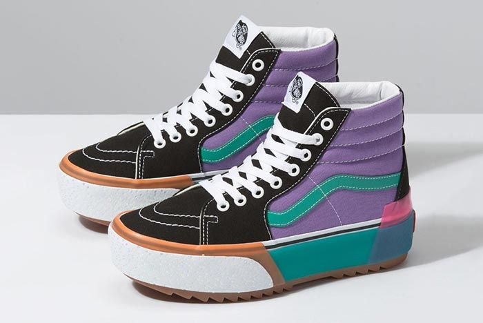 Vans Stacked Platform Skate High Purple Three Quarter Angle Shot