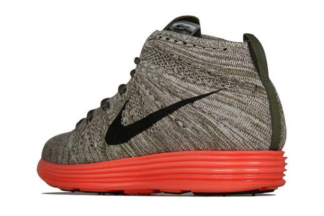 Nike Lunar Flyknit Chukka Tarp Green Total Crimson Heel 1