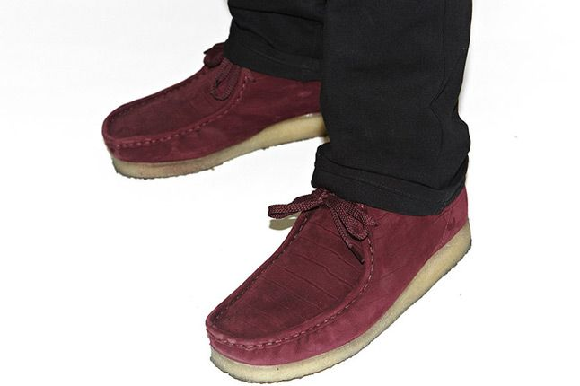 Supreme X Clarks Wallabee Boot Burgundy Croc Pair 1