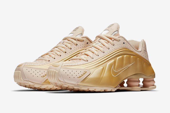 Nike Shox R4 Guava Ice Metallic Gold Pair