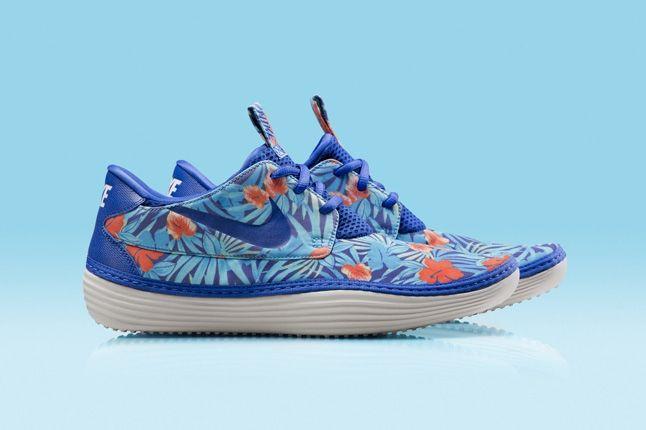 Nike Solarsoft Moccassin Hawaii Floral Purple Blue Profile