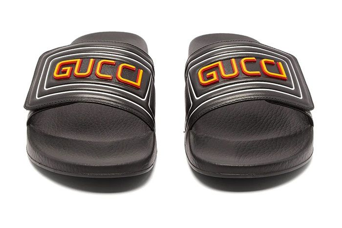 Gucci Gg Cut Out Logo Leather Rubber Slides Yellow Front Shot