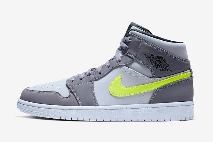 Air Jordan 1 Neon Dark Grey 554724 072 Left Side Shot White Background