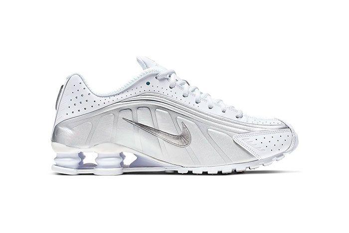 Nike Shox R4 White Metallic Silver Bright Crimson Metallic Silver Side Shot 4