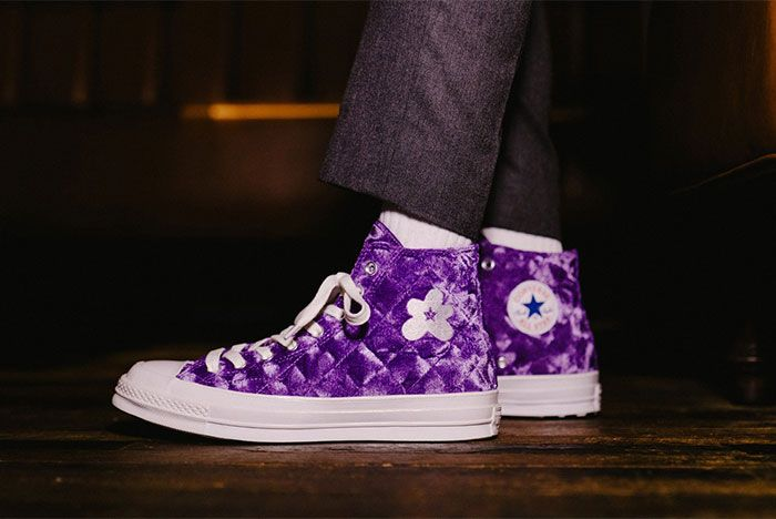 Golf Le Fleur Converse Chuck 70 Quilted Purple On Feet Left Side View