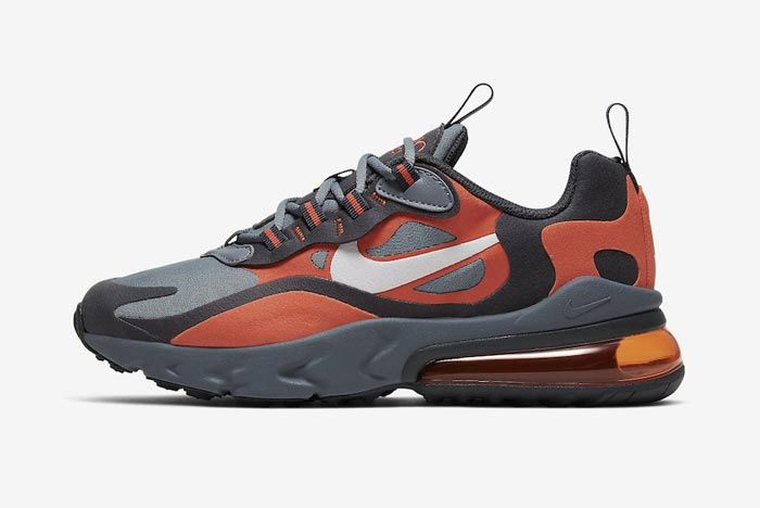 Nike Air Max 270 React Grey Orange Gs Lateral