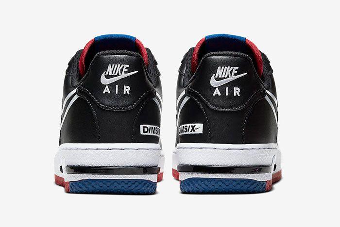 Nike Air Force 1 React Black Gym Red Gym Blue Ct1020 001 Heel