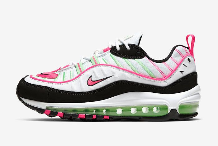 Nike Air Max 98 White Pink Volt Ci3709 101 Lateral Side Shot