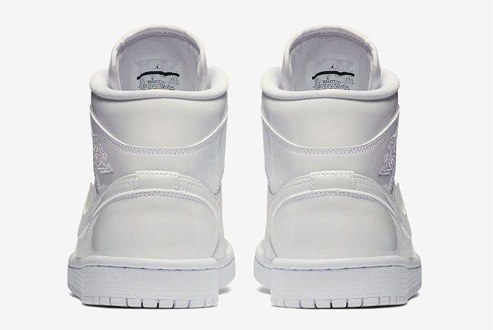 Air Jordan 1 Mid White Patent Bq6472 111 Release Date 5 Heel Shot