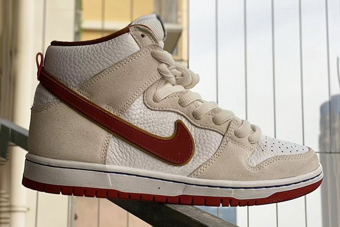 Nike Sb Dunk High Sail Team Crimson Cv9499 100 Release Date Leak